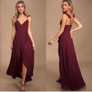 Lulus Here's to Us Burgundy High-Low Wrap Dress